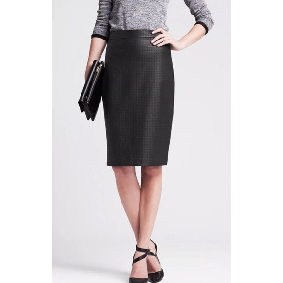 bccff93a28 Banana Republic Skirts | Perforated Faux Leather Skirt | Poshmark